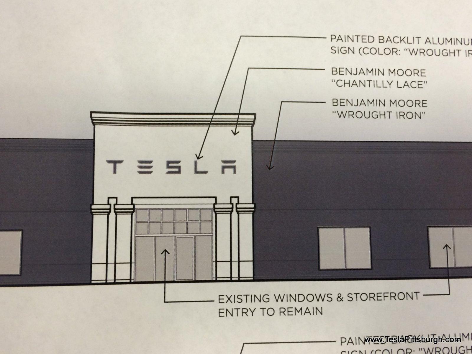 pittsburgh tesla service center proposed facade closeup