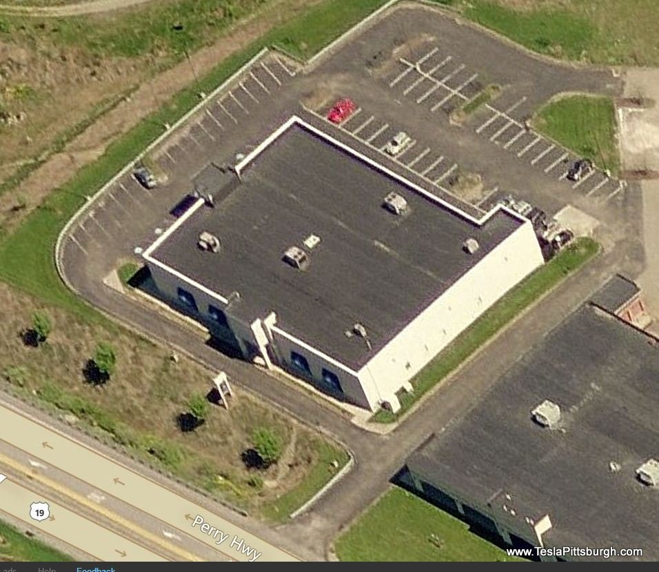pittsburgh tesla service center road facades birdseye