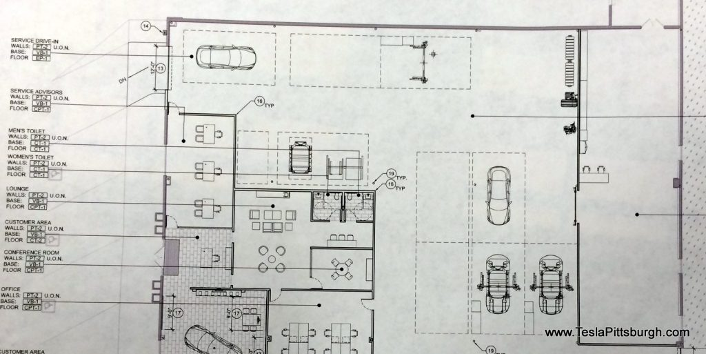 pittsburgh tesla service floor plan of work area
