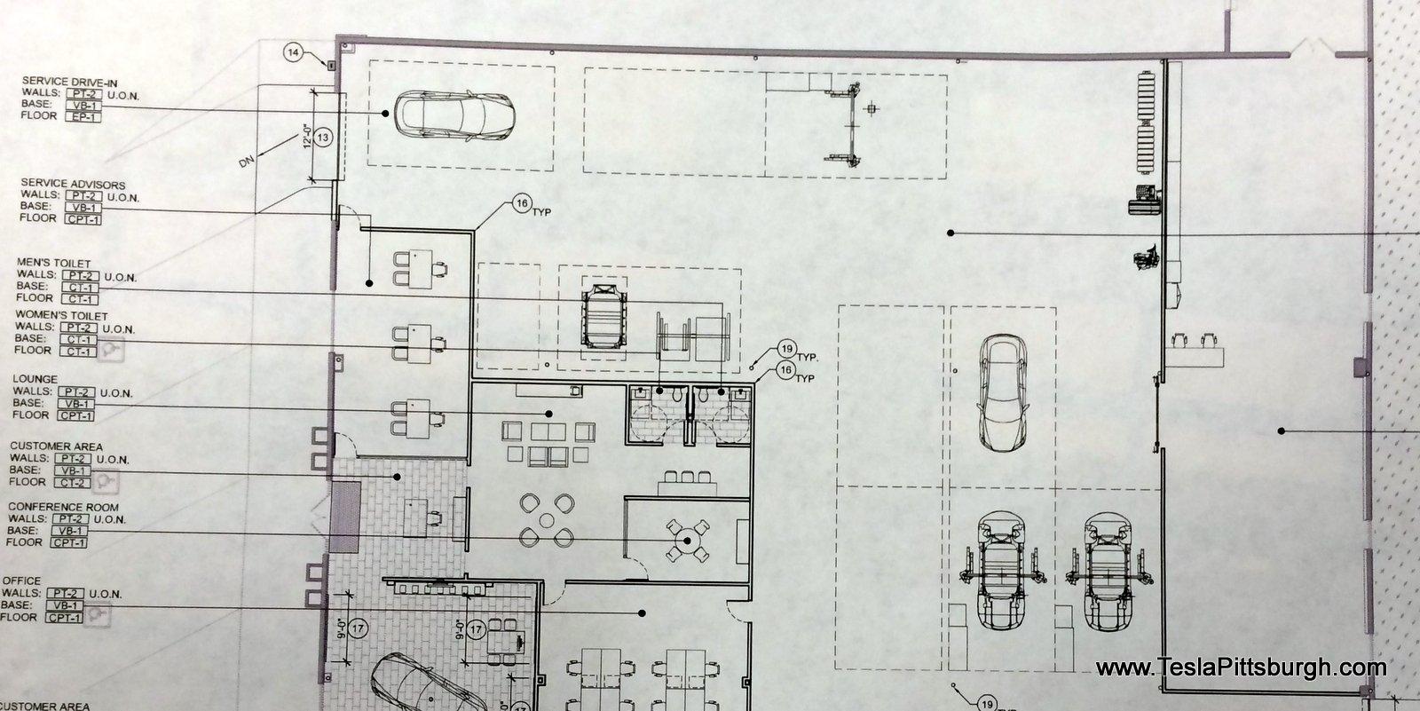 pittsburgh tesla service floor plan of work area