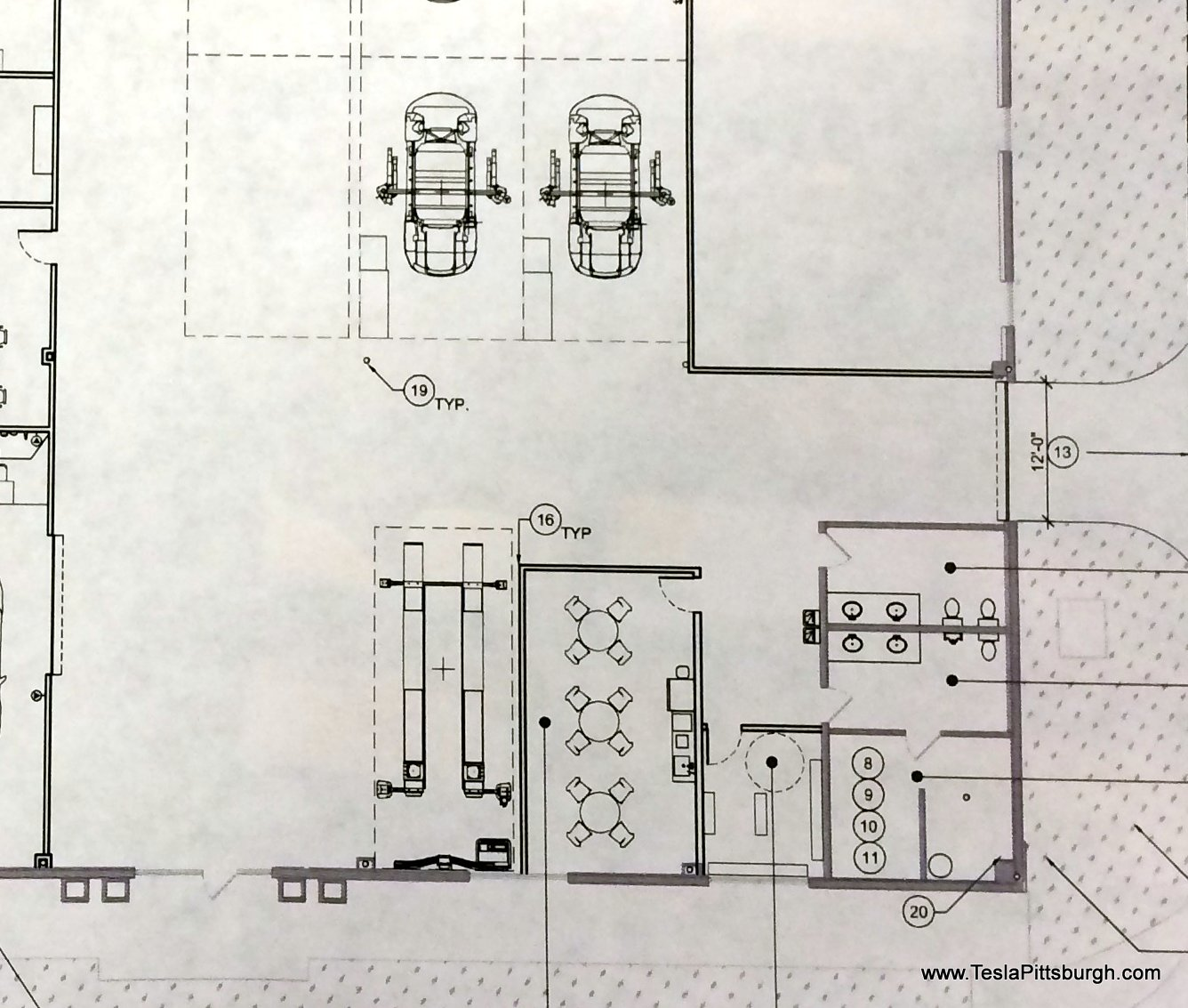 pittsburgh tesla service floorplan of employee area