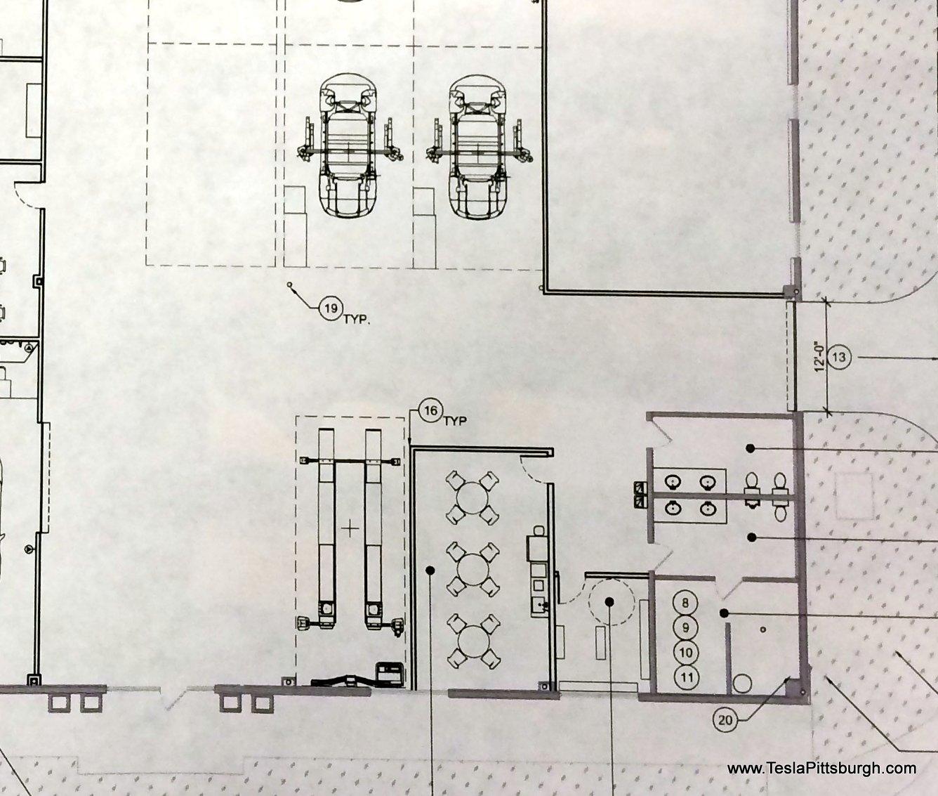 pittsburgh tesla service floorplan of employee area