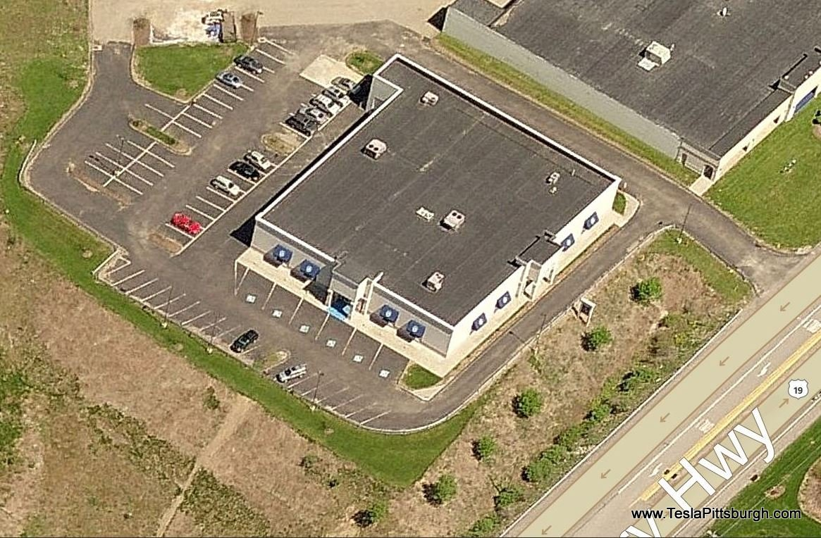 Pittsburgh Tesla Service Center location front corners birdseye