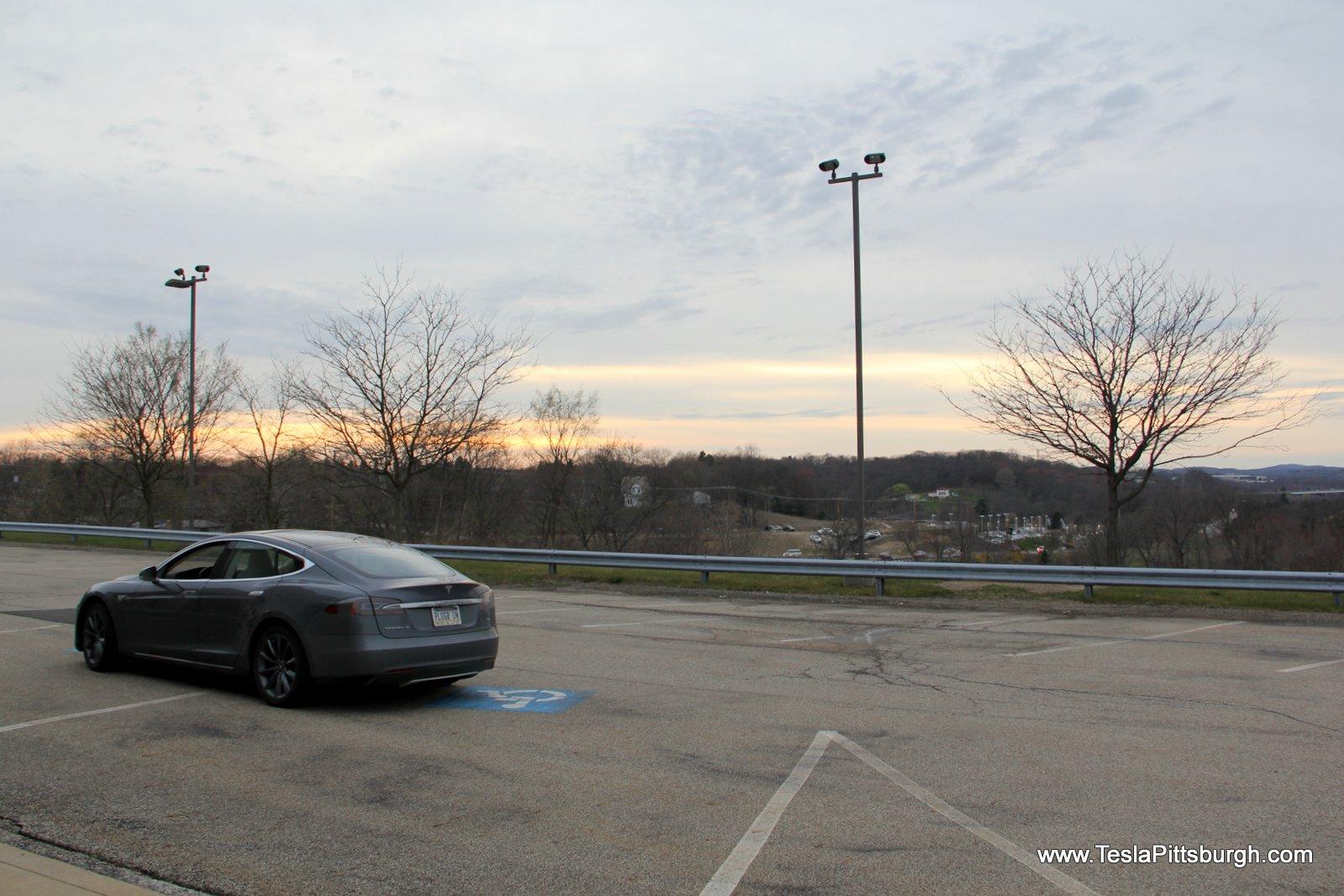 plugr in pittsburgh tesla parking lot overlook