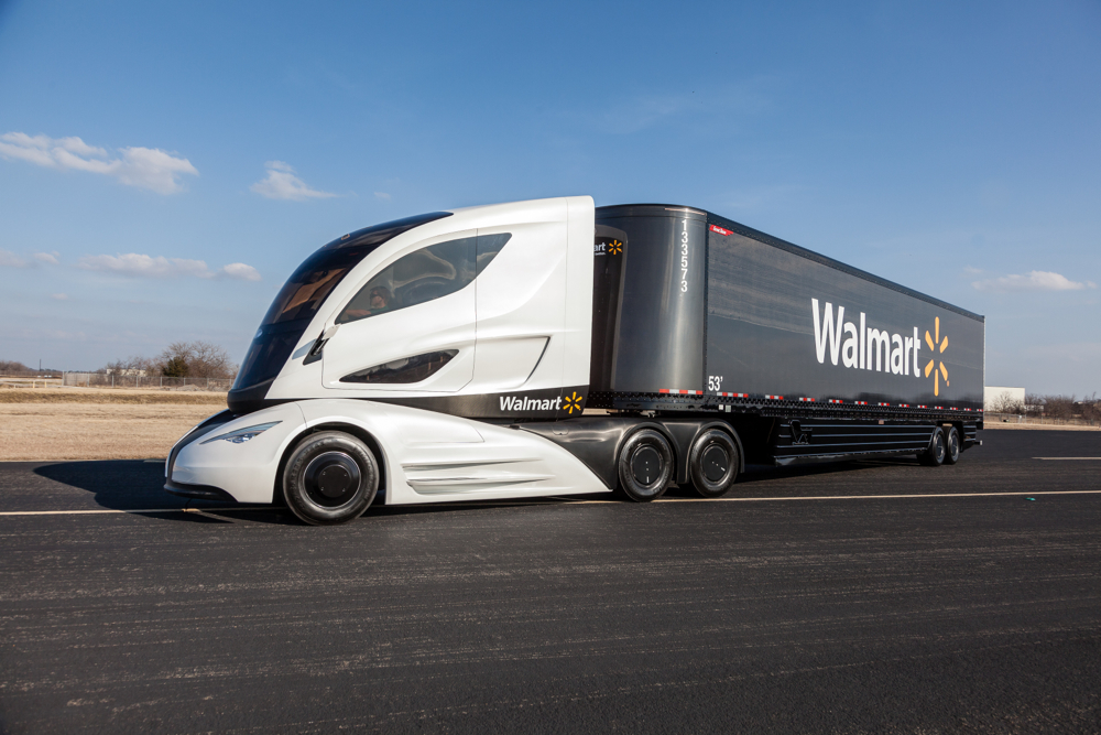 Walmart's WAVE concept truck features an electric powertrain and lightweight carbon fiber trailer