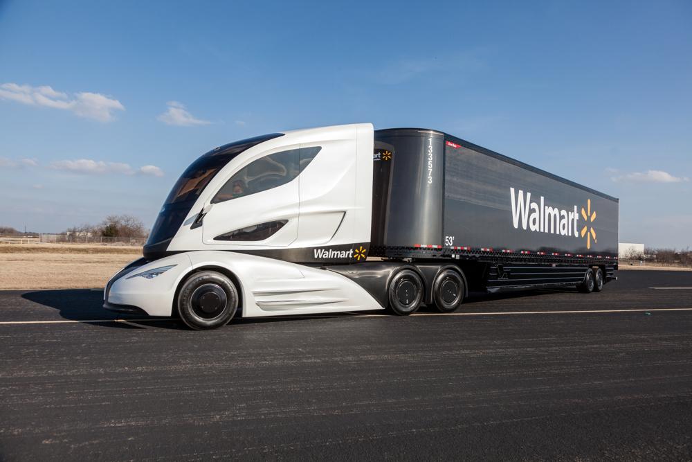 Walmart's WAVE concept truck features an electric powertrain and lightweight carbon fiber trailer