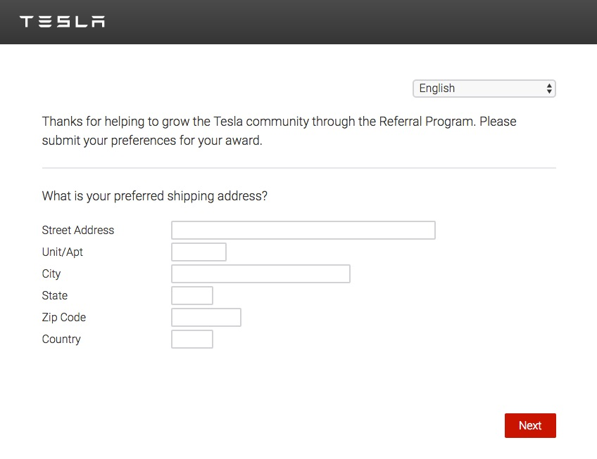 Tesla Referral Program shipping address form