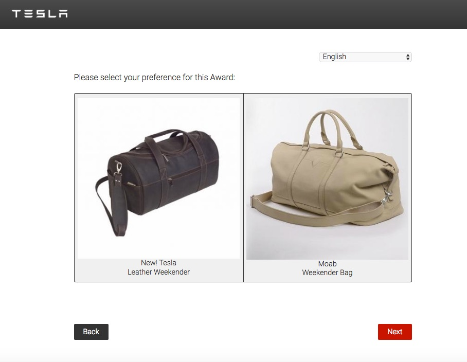Tesla Referral Program Weekender Bag