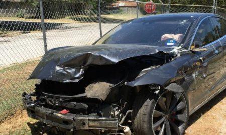 Wrecked Tesla in Texas