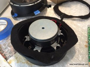 light harmonic labs speaker with felt gasket and screws in place tesla pittsburgh