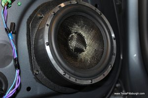 light harmonic speaker mounted in door with felt tesla pittsburgh