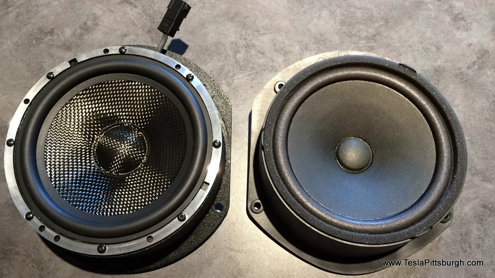 reversed pic of side by side light harmonic labs factory speaker tesla pittsburgh