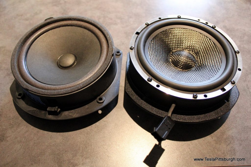 side by side of factory stock and light harmonic labs speaker tesla pittsburgh