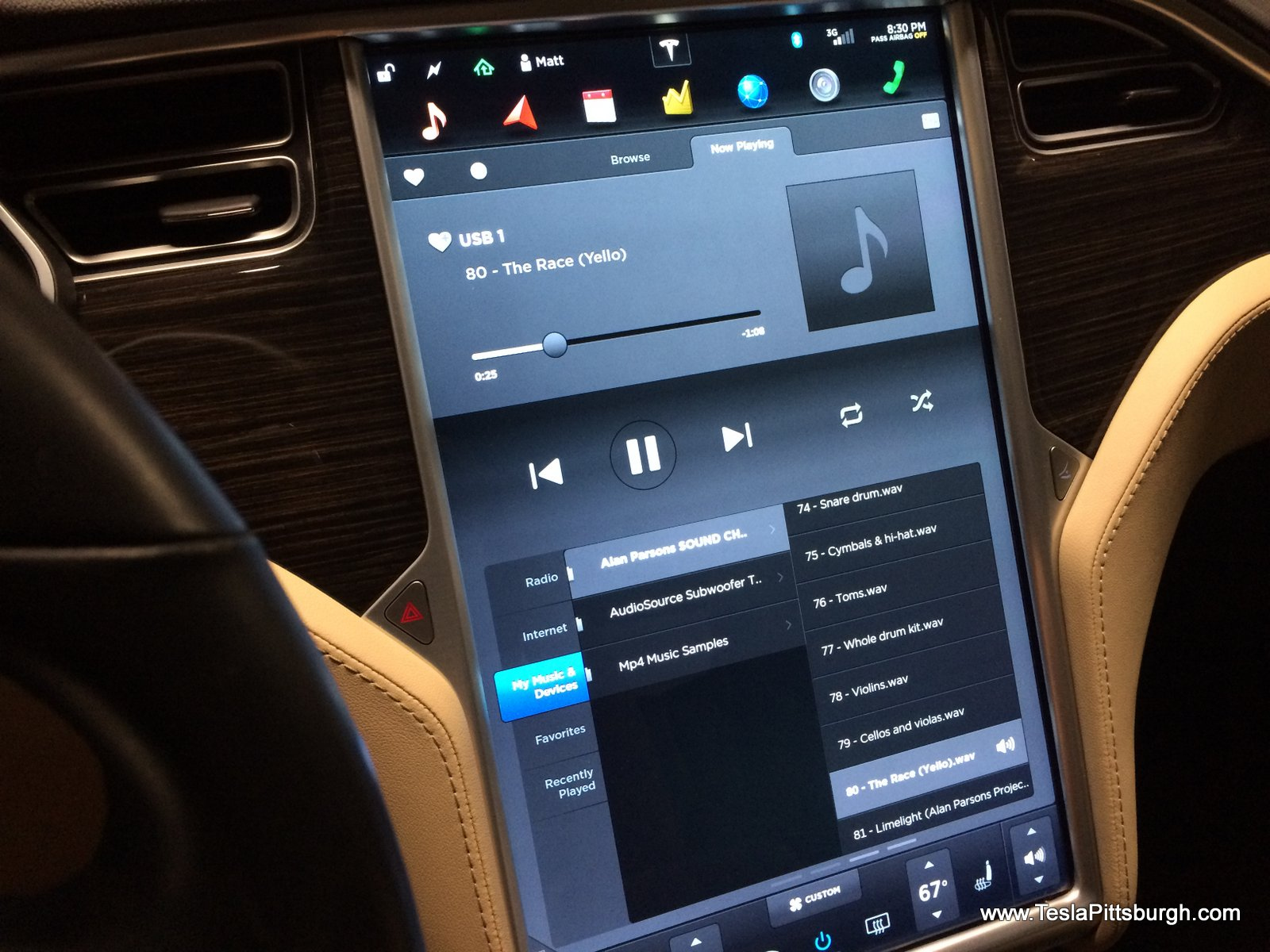 touchscreen showing test clips used for speaker test tesla pittsburgh