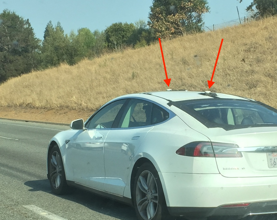 Tesla Model S testing with LIDAR pucks near HQ