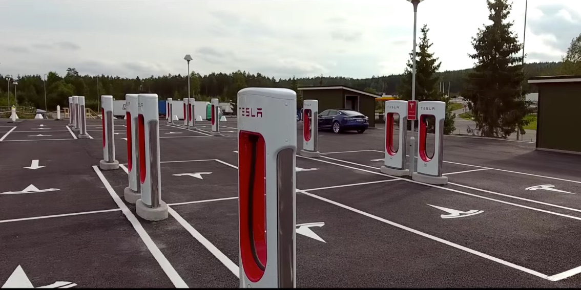 World S Largest Tesla Supercharger Station Makes Its Way