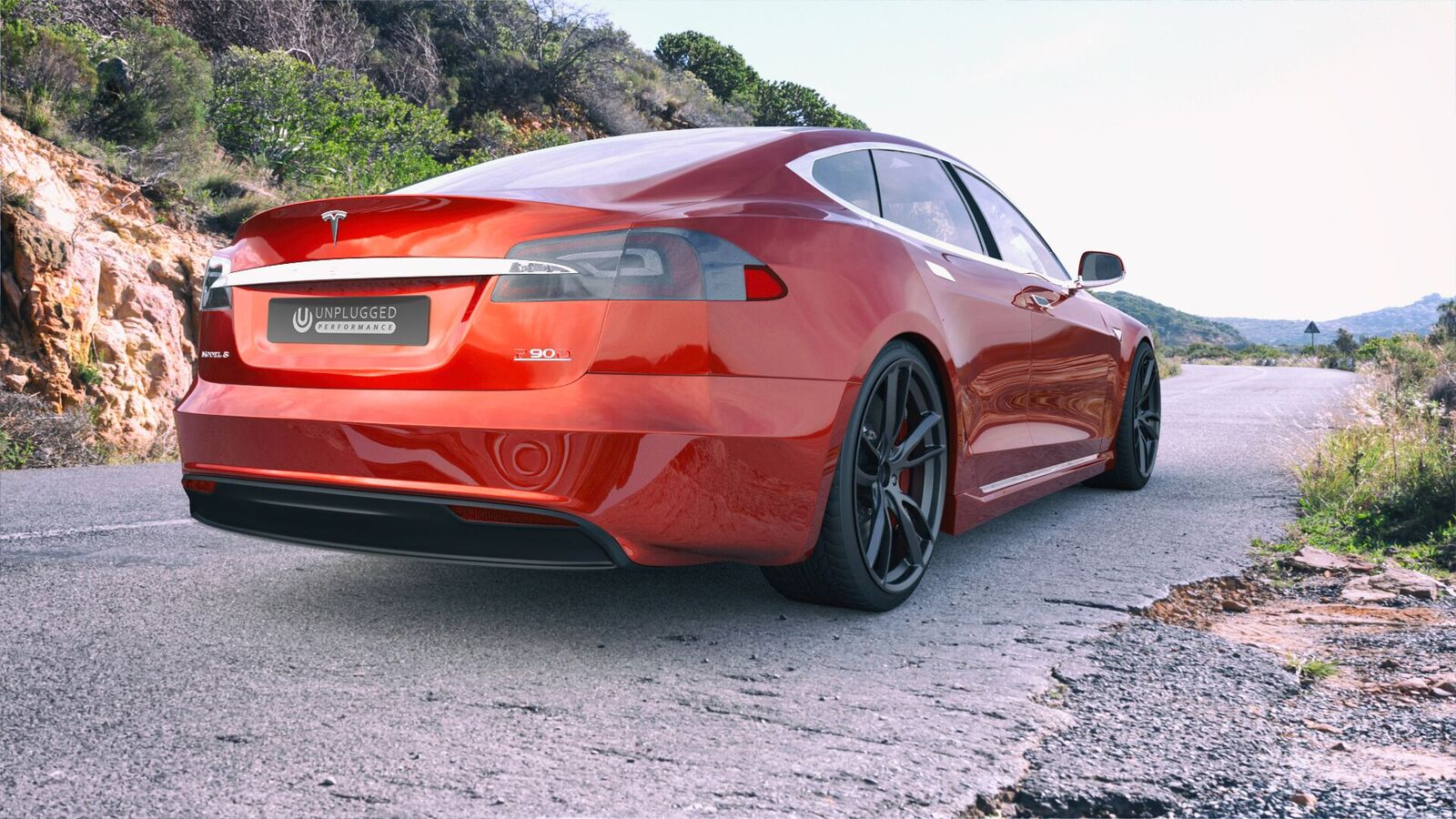 Unplugged-Performance-Red-Tesla-Refresh-Rear-2