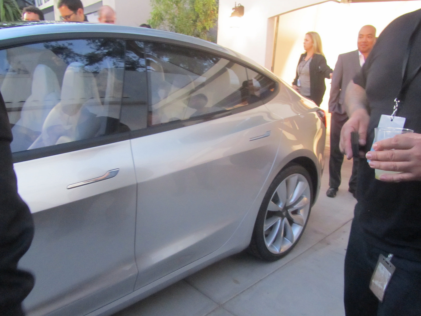Silver Tesla Model 3 door handles