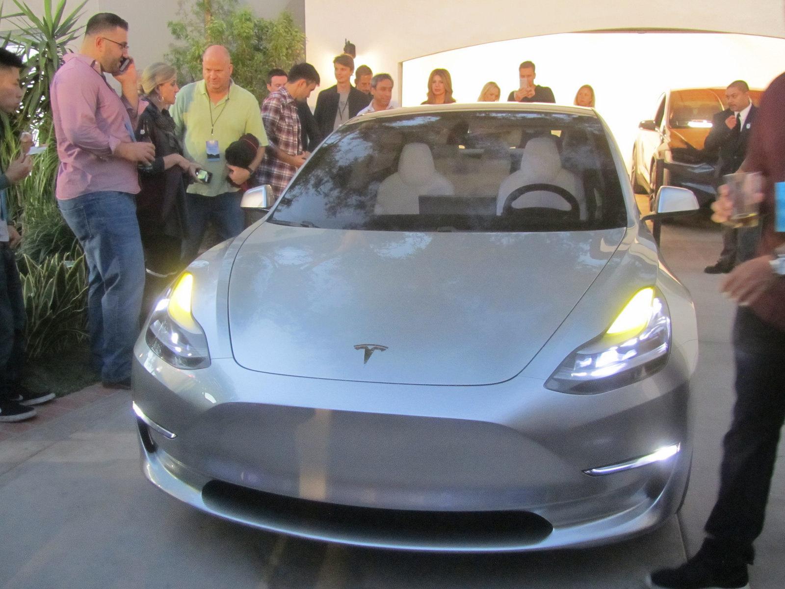 Silver Tesla Model 3 front fascia