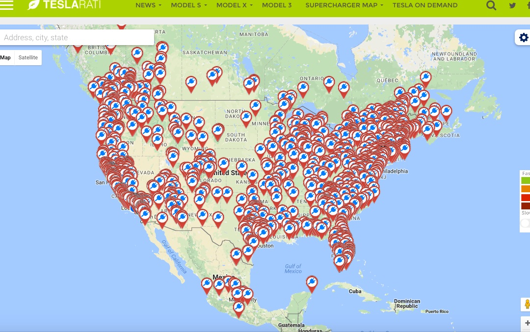 Tesla destination chargers map
