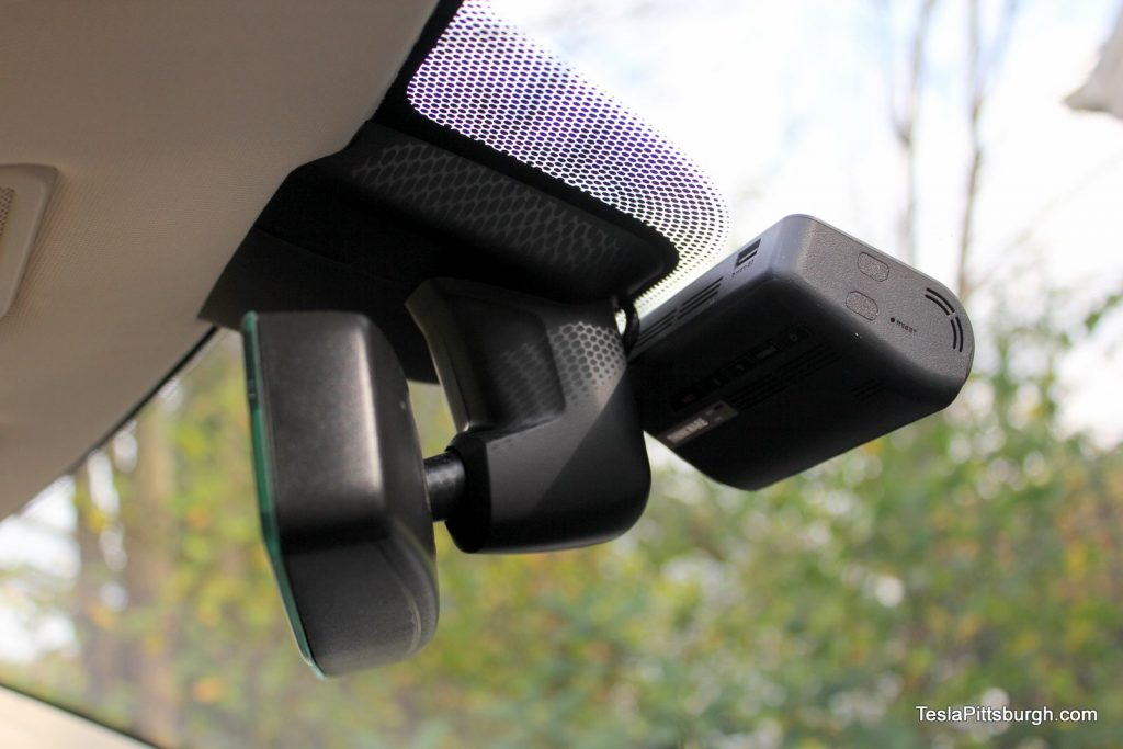 Thinkware F770 mounted below Tesla Model S mirror