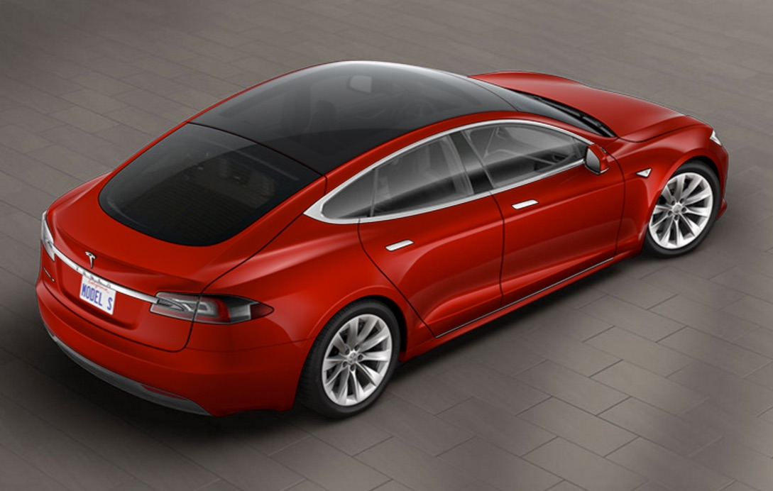 Multi-Coat Red Model S with Glass Roof
