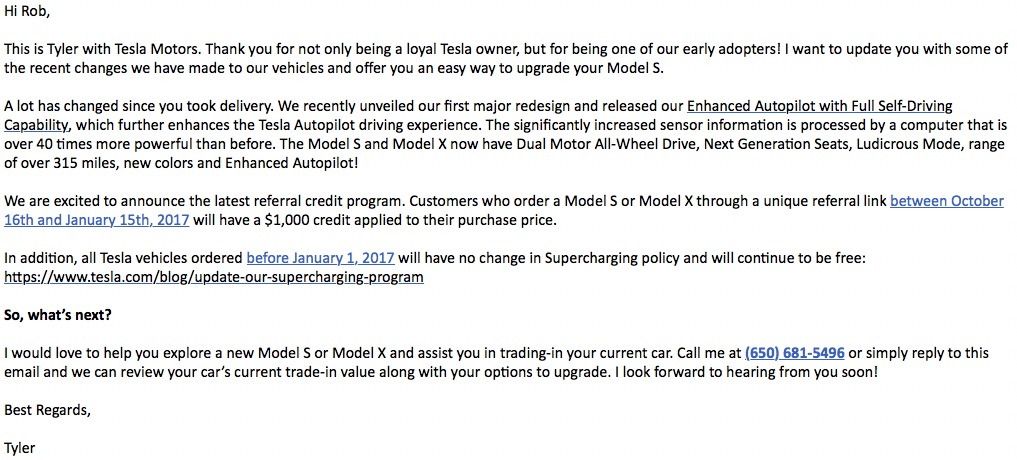 Model S Upgrade Solicit
