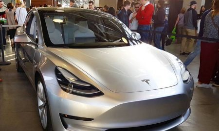 Silver Tesla Model 3 at the Avaya Stadium, Nov 5, 2016