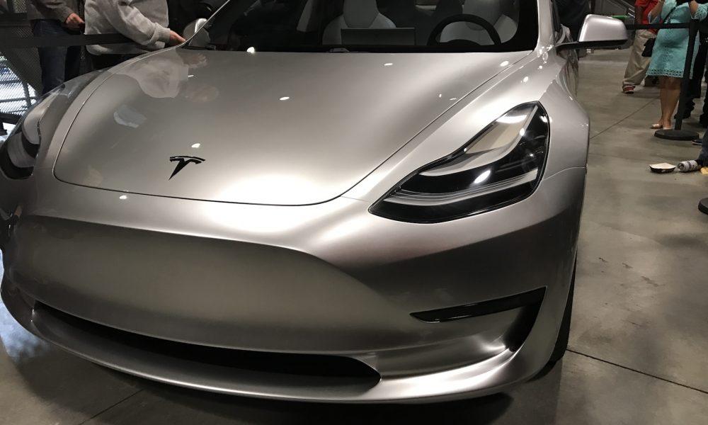 Silver Tesla Model 3 front corner at the Avaya Stadium, Nov 5, 2016