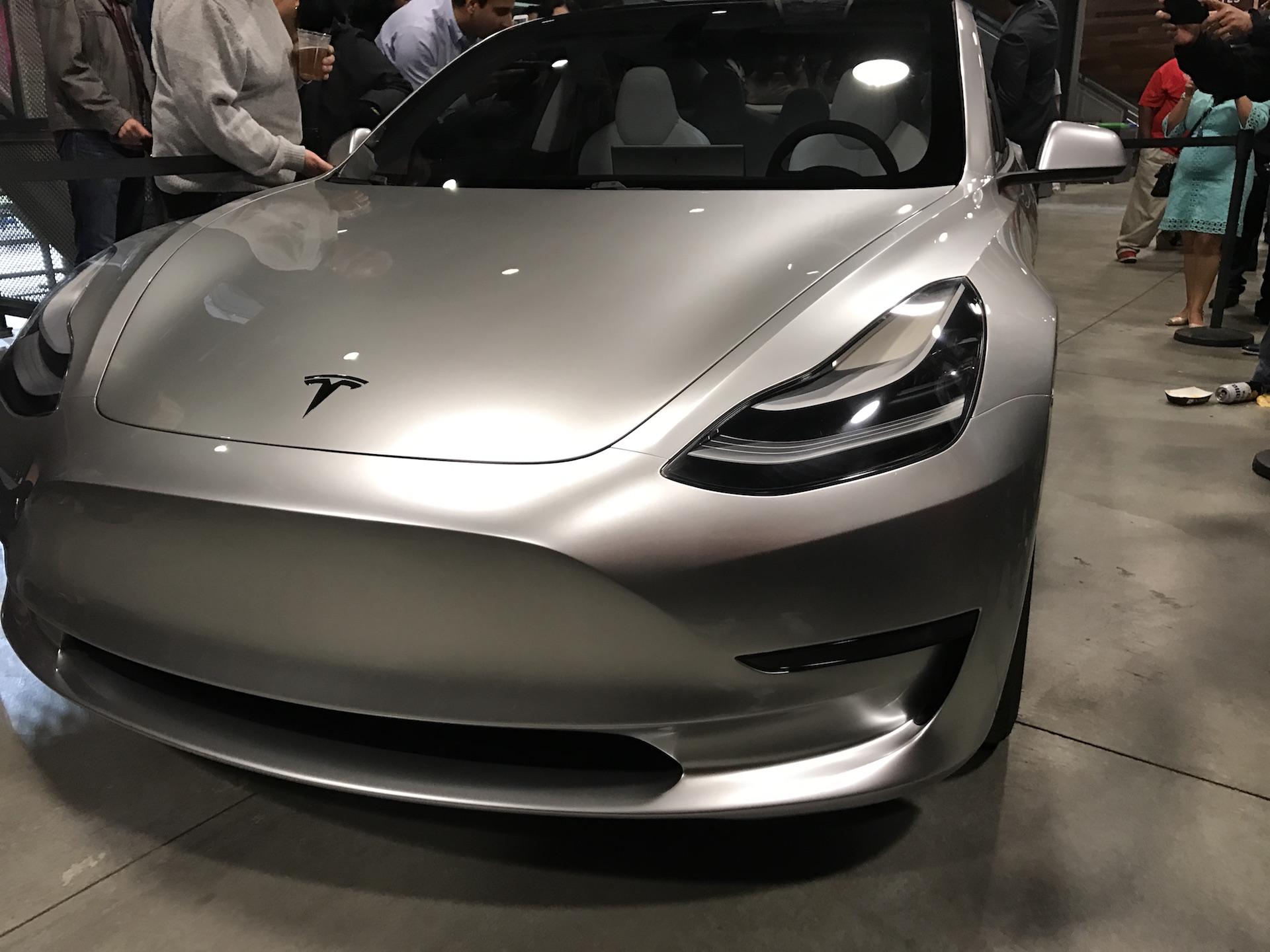Silver Tesla Model 3  front corner at the Avaya Stadium, Nov 5, 2016