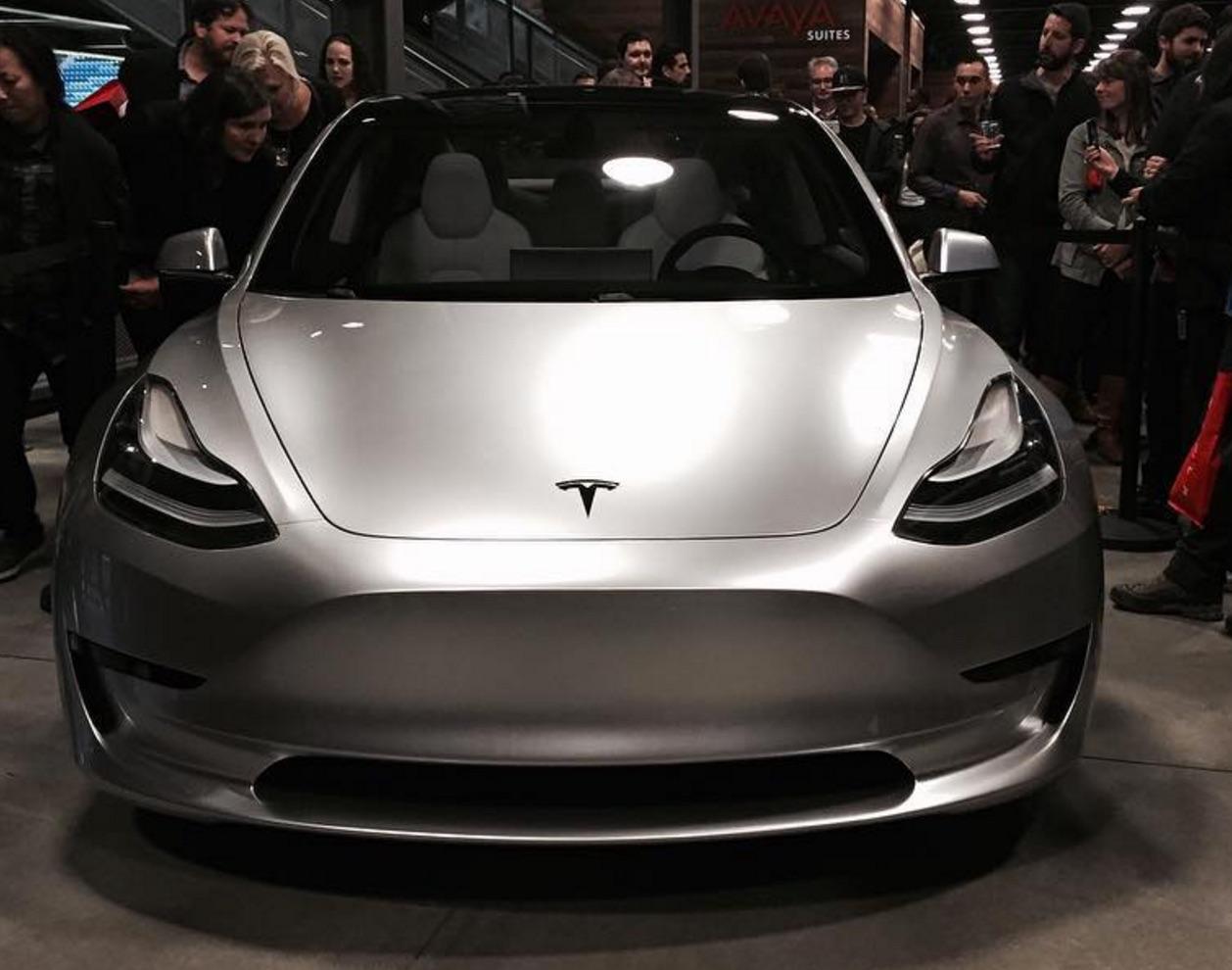 Silver Tesla Model 3 Front Corner At The Avaya Stadium Nov 5 2016