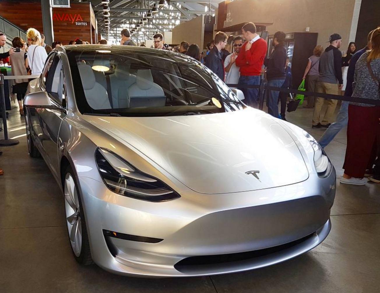 Silver Tesla Model 3 at the Avaya Stadium, Nov 5, 2016