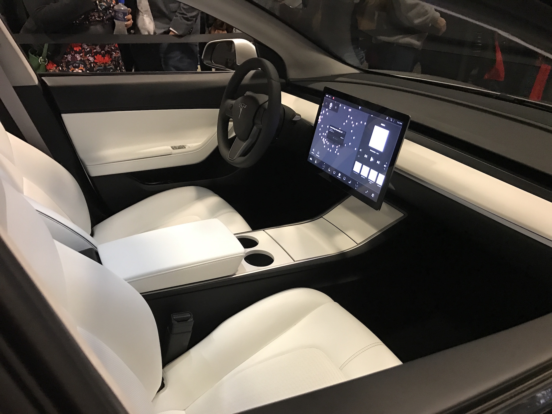 Silver Tesla Model 3 interior center wheel at the Avaya Stadium [Credit: ryaneager via imgur]