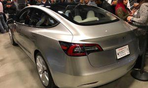 Silver Tesla Model 3 rear [Credit: tony.siress via Instagram]