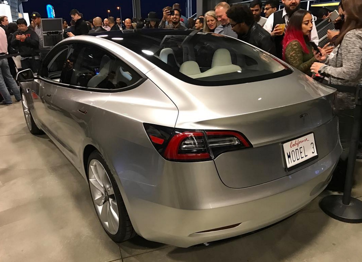 Silver Tesla Model 3 rear [Credit: tony.siress via Instagram]