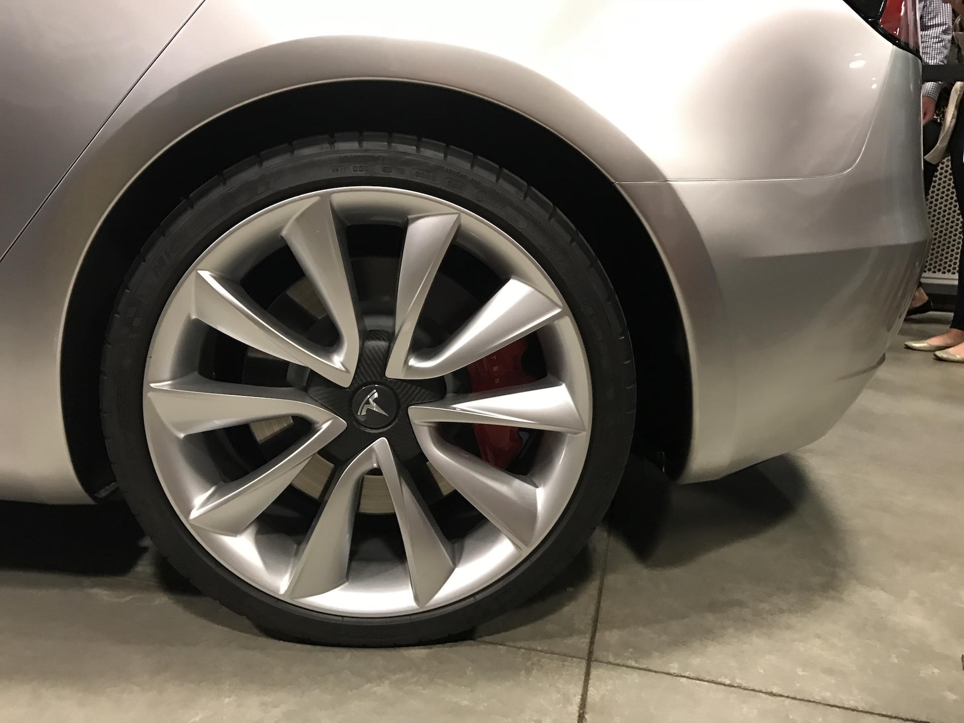 Silver Tesla Model 3 carbon center wheel at the Avaya Stadium [Credit: ryaneager via imgur]