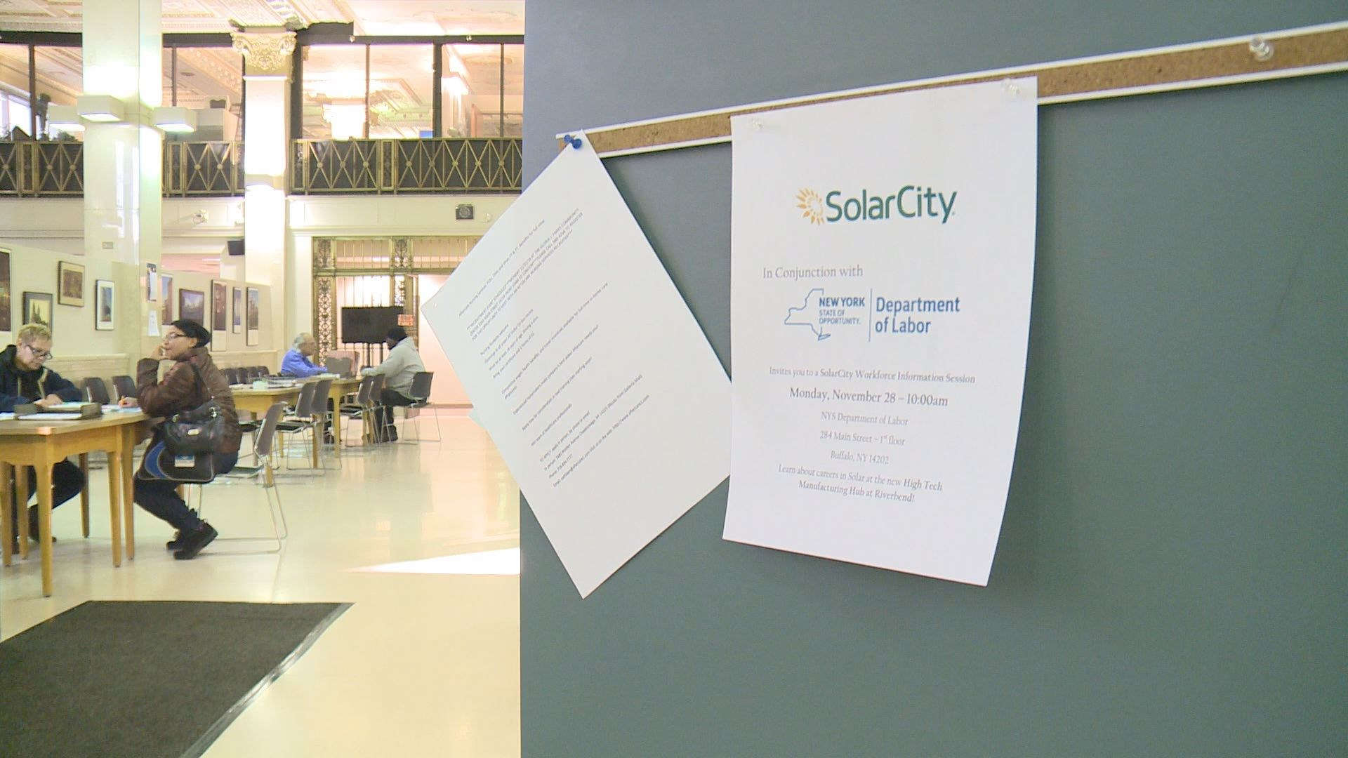 Flyer for SolarCity workforce information session at Buffalo, NY [Source: WGRZ]