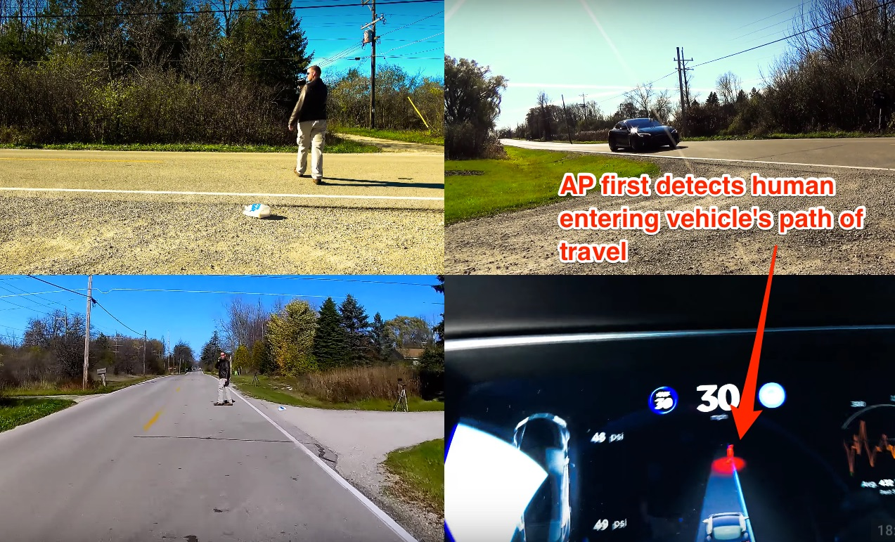 Tesla Autopilot detects human entering from side of road