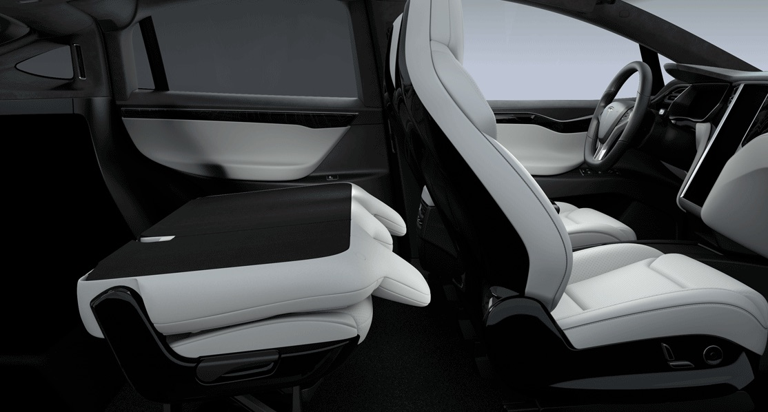 tesla updates model x 5 seater with fold flat second row seating. Black Bedroom Furniture Sets. Home Design Ideas