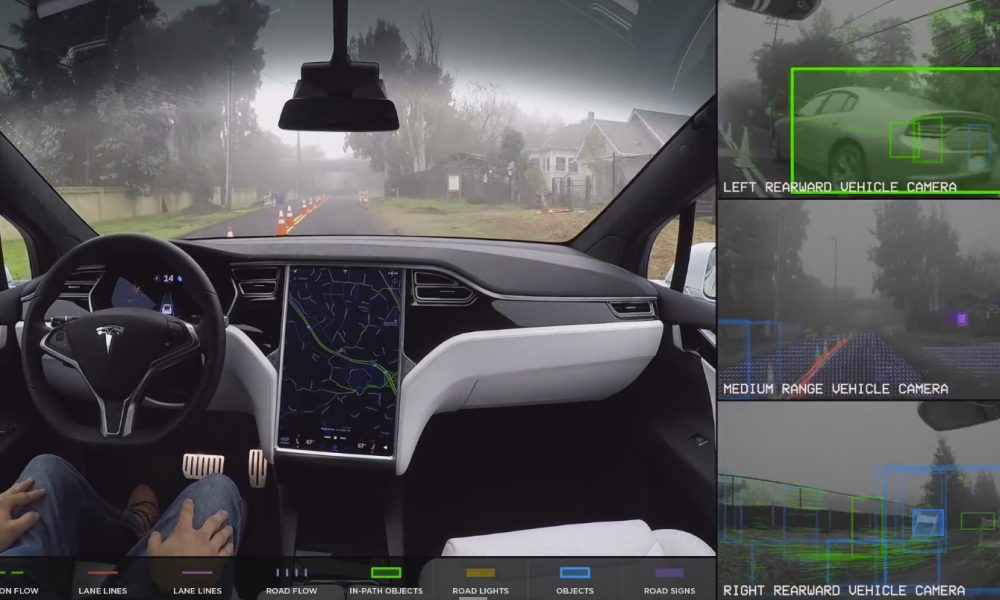 tesla demonstrates how its self driving car sees the world. Black Bedroom Furniture Sets. Home Design Ideas