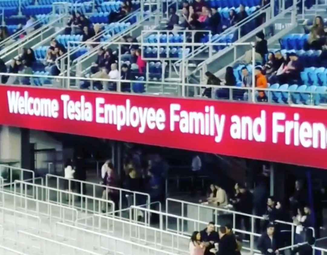tesla-employee-friends-family-avaya-stadium-banner