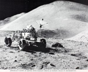 Astronaut Scott at Moon Rover
