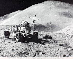 Astronaut Scott at Moon Rover