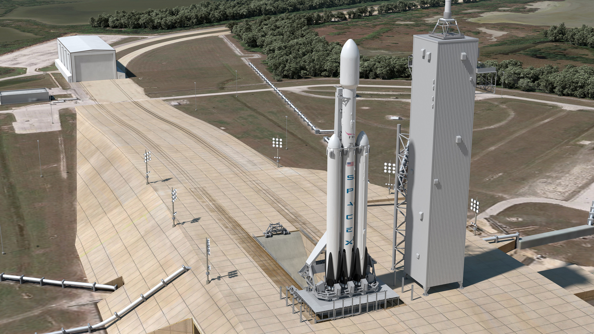 Falcon Heavy on Launch Pad 39A | Credit: SpaceX
