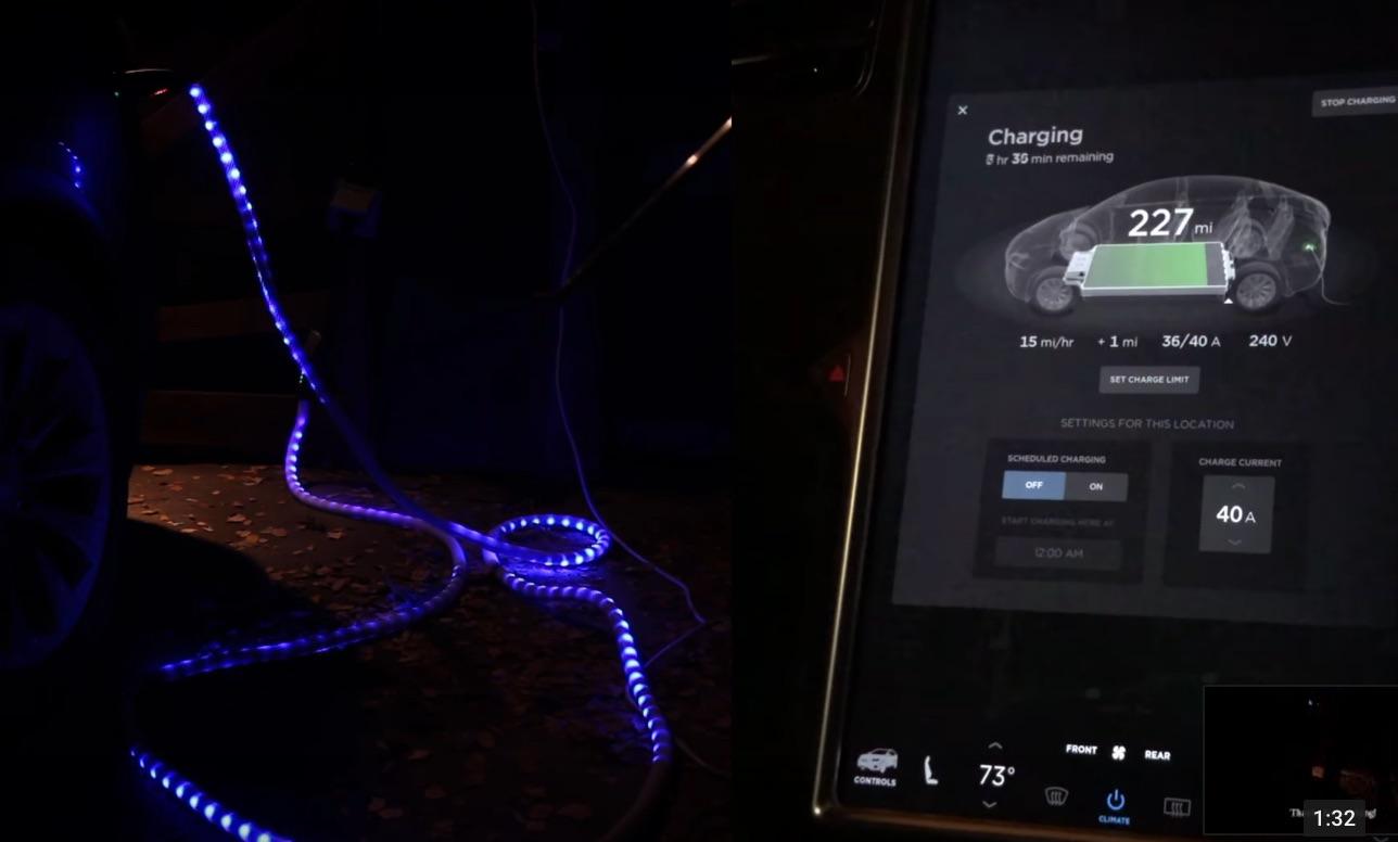 Tesla-UMC-light-up-LED-charging-cable