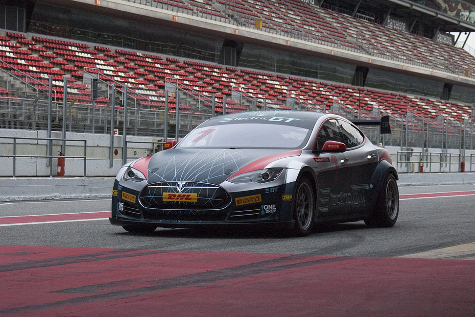 Watch Electric Gt S Tesla Model Race Car Stick To The Track Like A Slot
