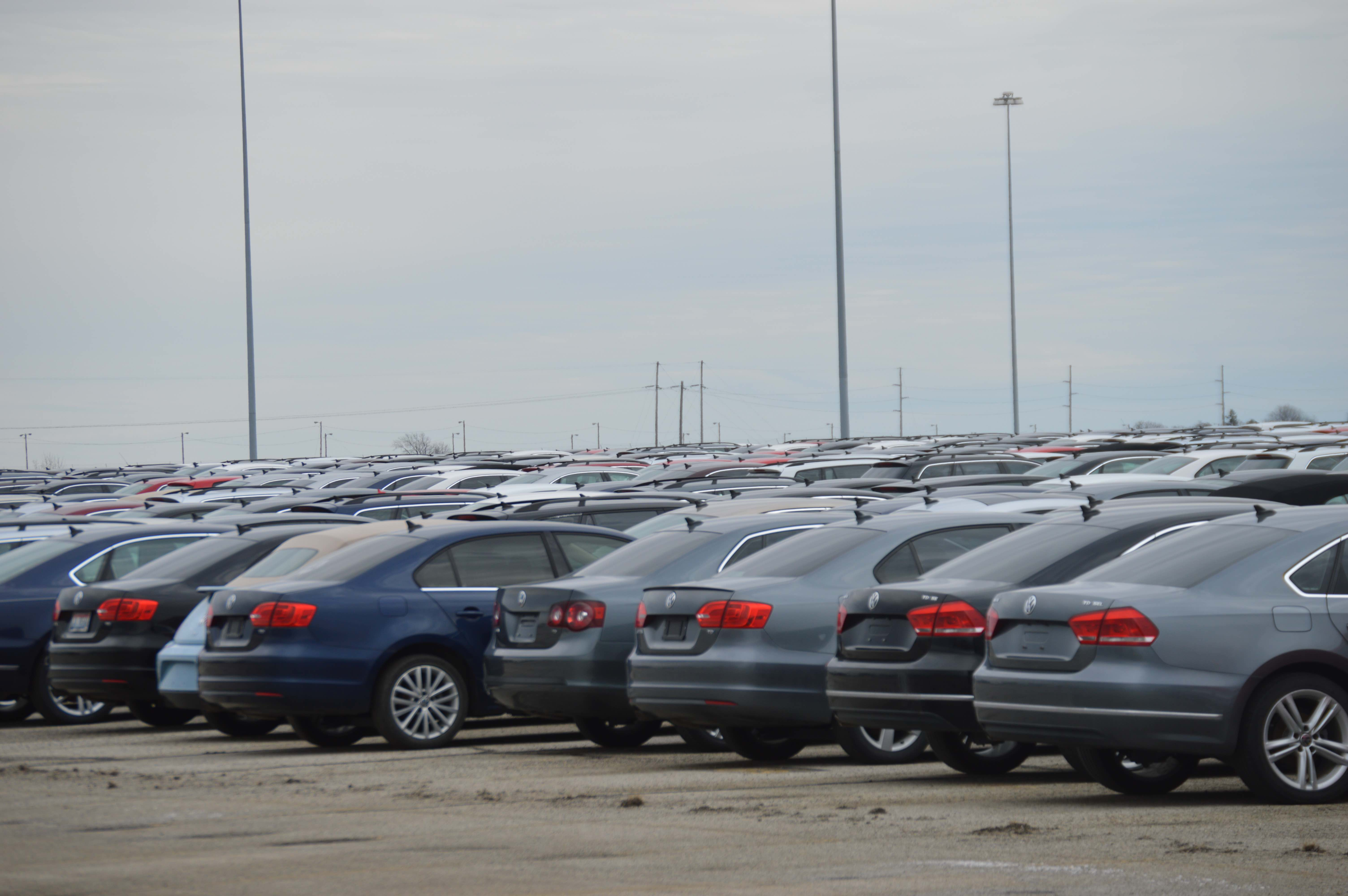 The Diesel VWs are tightly lined up as more vehicles arrive daily