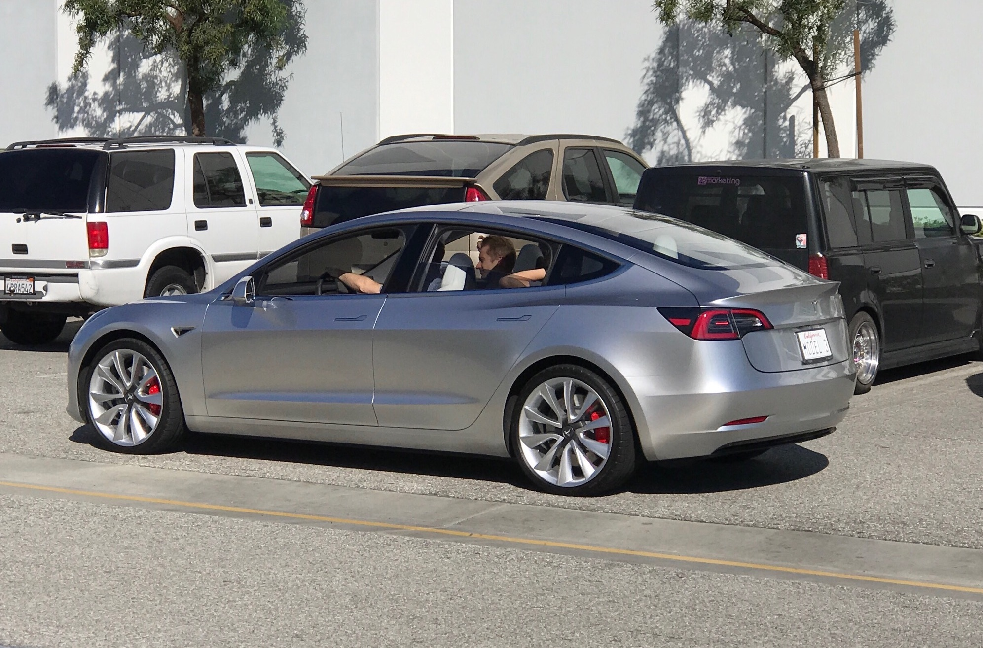 tesla model 3 spotted testing along hyperloop track outside of spacex. Black Bedroom Furniture Sets. Home Design Ideas