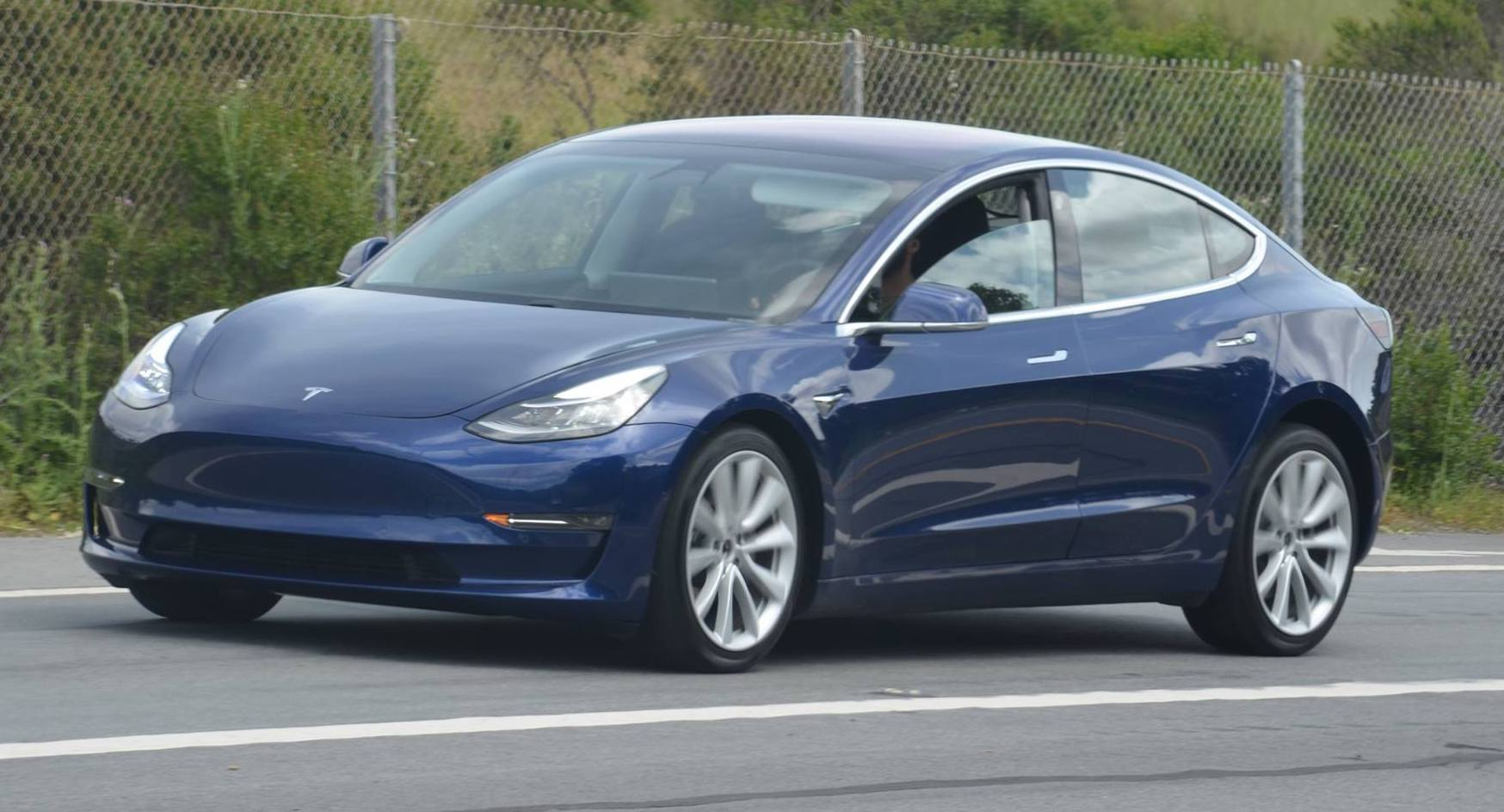 Solar Cars 2017 >> Refined blue Tesla Model 3 spotted once again near Tesla HQ