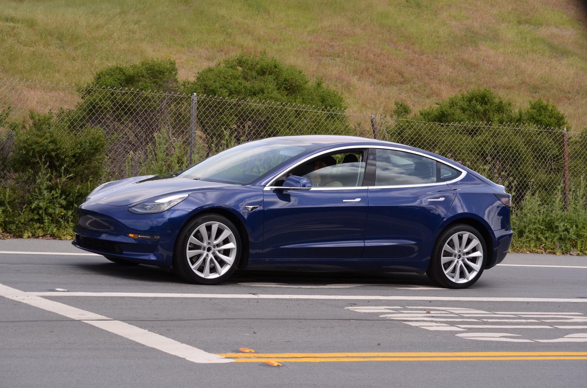 Refined Blue Tesla Model 3 Spotted Once Again Near Tesla Hq